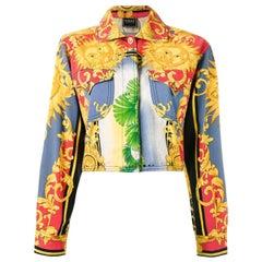 "90's VERSACE ""Jeans couture"" Sun Baroque print jacket"