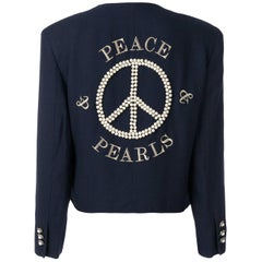 1989 MOSCHINO Couture vintage Peace & Pearls embroidered jacket