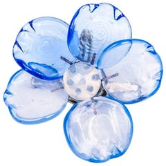 CHANEL Flower Pendant Brooch in Blue and White Molten Glass