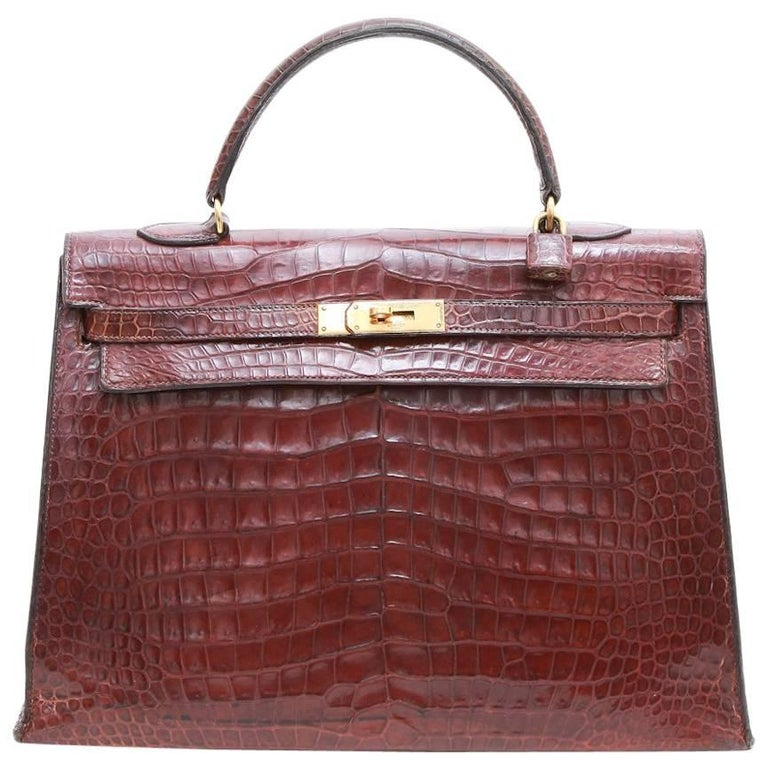 HERMES Kelly 35 Brown Semi Matt Crocodile Porosus Handbag