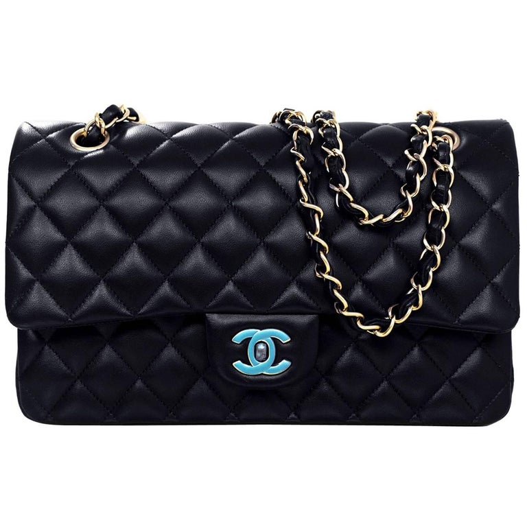 "Chanel NEW Navy Quilted Lambskin Leather Medium Classic 10"" Double Flap Bag 1"