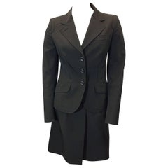 Prada Brown Skirt Suit with 3 Button Blazer