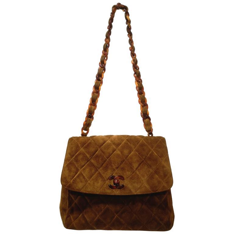 Chanel brown suede baguelite shoulder bag For Sale