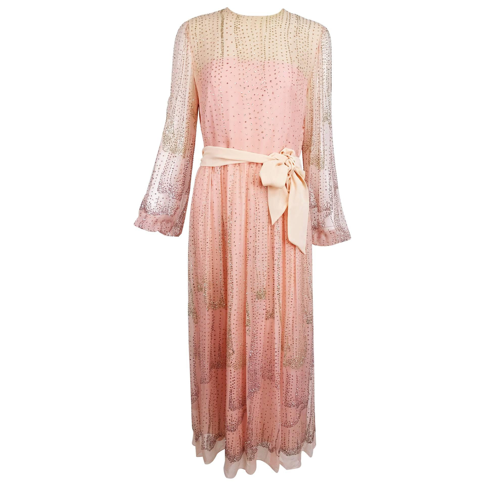 Vintage Richilene pink silk chiffon with silver glitter evening dress 1970s