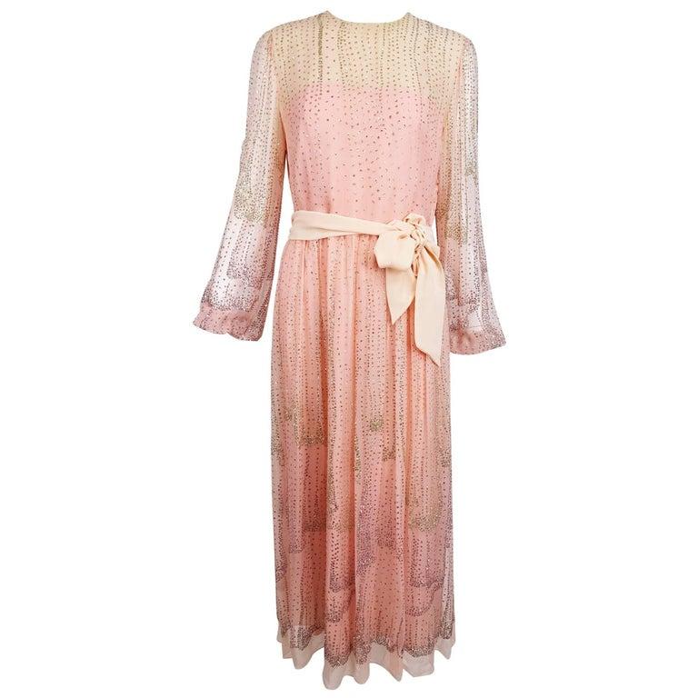 Vintage Richiline Pink Silk Chiffon With Silver Glitter