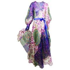 Vintage Lanvin fantasy floral print silk organza maxi dress 1970s