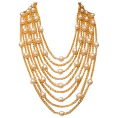 Vintage Chanel Multi Stranded Pearl, Crystal and Chain Necklace