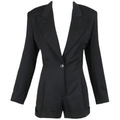Vintage Norma Kamali Black Mini Romper w/Jacket Lapels