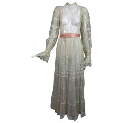 Vintage Victorian style ivory lace and tulle maxi dress 1970s wedding