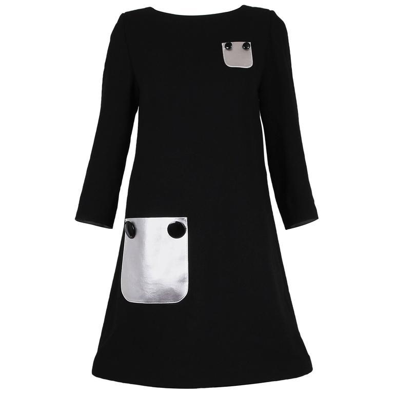 dc7cafd4b47 Pierre Cardin Haute Couture Mod Black Cocktail Dress w Silver Pleather  Pockets For Sale