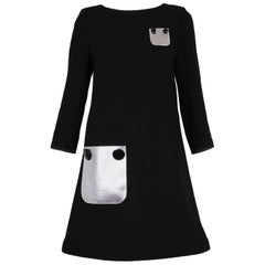 Pierre Cardin Haute Couture Mod Black Cocktail Dress w/Silver Pleather Pockets