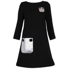 Pierre Cardin Haute Couture Mod Black Cocktail Dress w/Silver Pleather Pockets