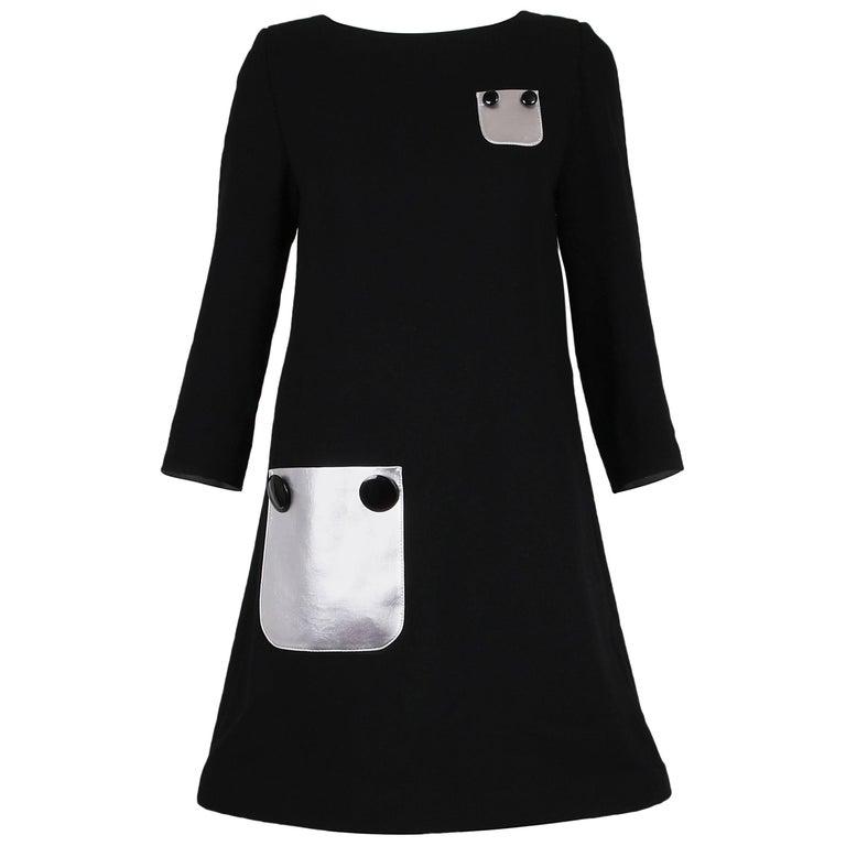 Pierre Cardin Haute Couture Mod Black Cocktail Dress w/Silver Pockets 1