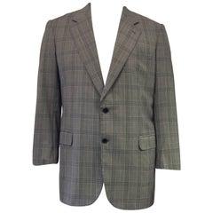 Brioni Bellissimo 100% Wool Heathered Windowpane Grey on Grey Jacket