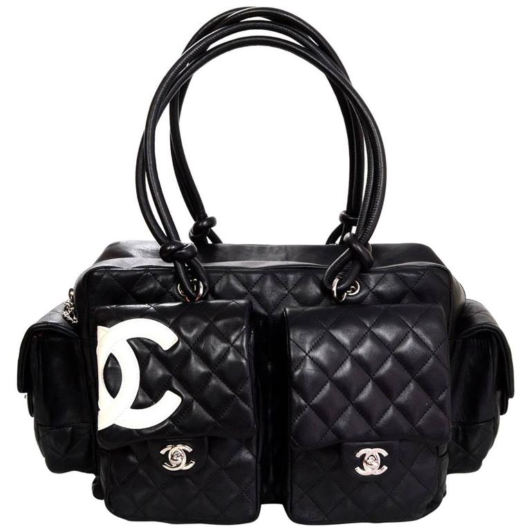 ea532a57f62f Chanel Black Leather Cambon Ligne Multipocket Reporter Bag with Dust Bag  For Sale at 1stdibs