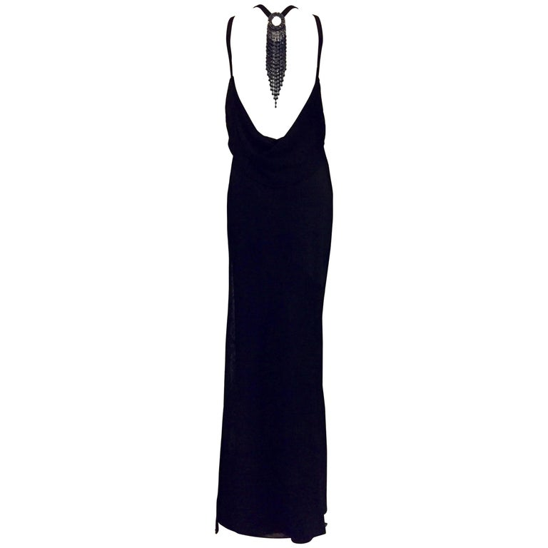 St. John Evening Black Backless Halter Dress w. Black Multifaceted Beads