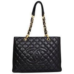 Chanel DISCONTINUED Black Caviar Leather GST Grand Shopper Tote Bag
