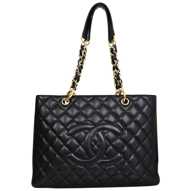 chanel discontinued black caviar leather gst grand shopper tote bag at 1stdibs. Black Bedroom Furniture Sets. Home Design Ideas