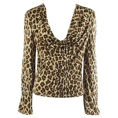 Celine Animal Print Jersey Long Sleeve Top - S