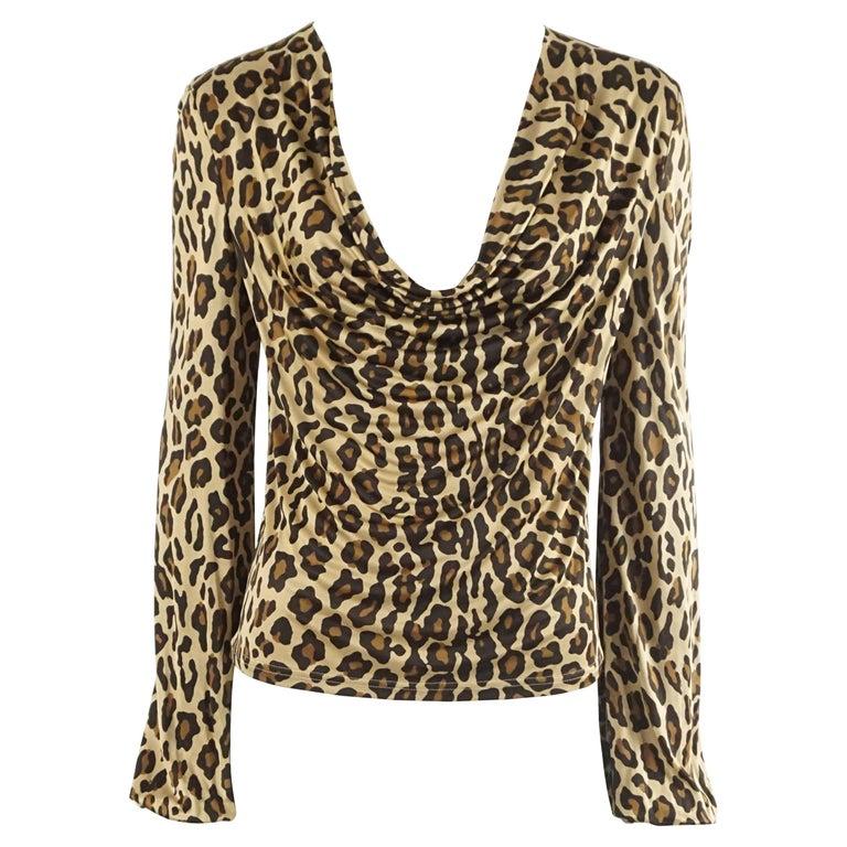 Celine Animal Print Jersey Long Sleeve Top - S