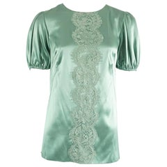 Dolce & Gabbana Seafoam Satin and Lace Top - 40