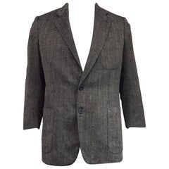 Men's Brioni for Maus & Hoffman Wool & Silk Navy Texture Weave Jacket Sz 44L