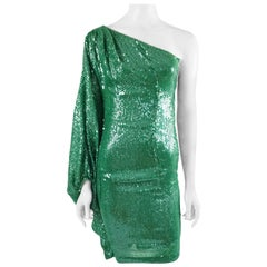 Naeem Khan Green Sequin One Shoulder Cocktail Dress - S