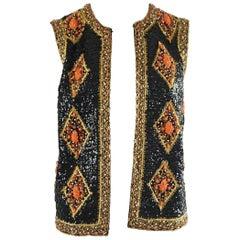 Saks Vintage Black, Orange, and Gold Fully Beaded Vest - M - 1960's