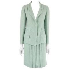 Chanel Pale Blue Linen Skirt Suit - 38