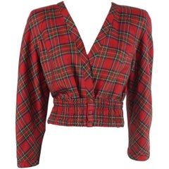 Valentino Red Plaid Lightweight Wool Crop Jacket and matching belt - 4- 80's