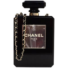 Chanel NEW 2014 Black Plexiglass Perfume Bottle Crossbody Evening Bag