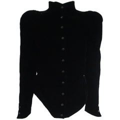 Thierry Mugler Black Velvet Angled Silk Lined Jacket - 38 - Circa 80's