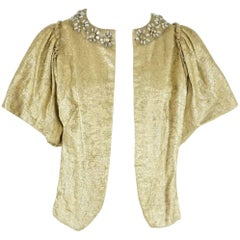 Lanvin Gold Silk Brocade Short Sleeve Jacket - Sz 36 - Circa 2007