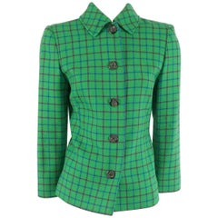 Valentino Green Checkered Wool Jacket - 8 - Circa 80's