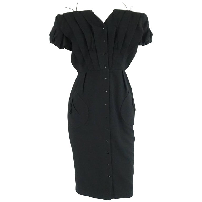 Thierry Mugler Black Pique Dress - 40 - Circa 90's