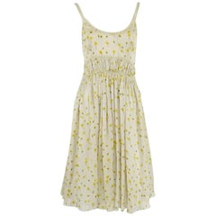 Chloe Cream and Yellow Floral Silk Dress - 36