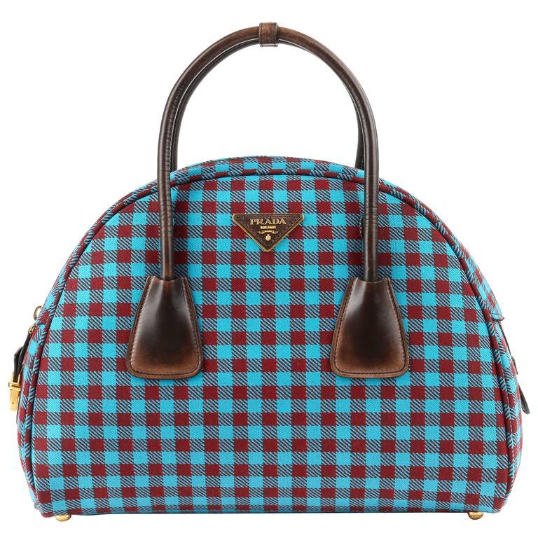 Prada A W 2017 Vichy Check Jacquard Turquoise Red Gingham Bowler Bag