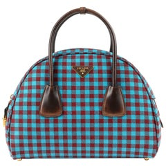 "PRADA A/W 2013 ""Vichy Check Jacquard"" Turquoise & Red Gingham Bowler Bag Purse"