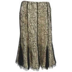Ralph Lauren Black Label Nude and Black Lace Skirt - 10