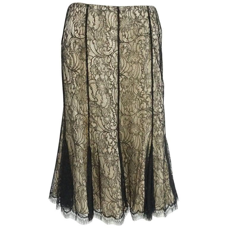 Ralph Lauren Black Label Nude and Black Lace Skirt - 10