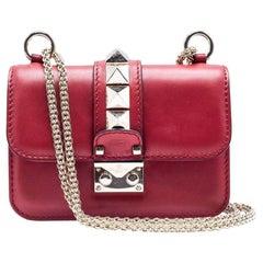 Valentino Women's Mini Red Lock Chain Leather Shoulder Bag