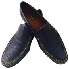 Men's A. Testoni Perforated Leather and hand stitch loafers in Navy Sz 10 1/2