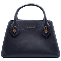 Burberry Women's Black Leather Double Handle Tote Bag