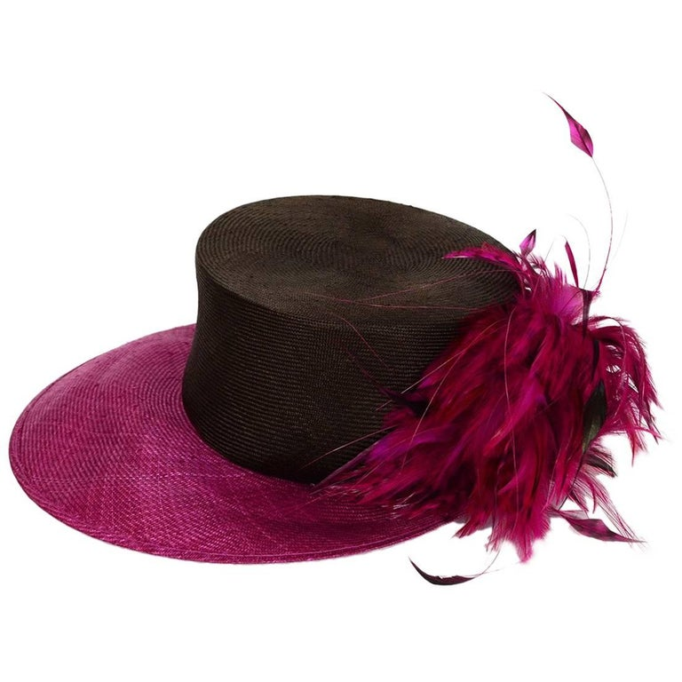 Philip Treacy NEW Pink & Brown Woven Hat with Feathers
