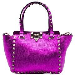 Valentino Womens Metallic Pink Mini Rockstud Trapeze Tote Bag