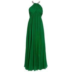 1960's Malcolm Starr Emerald-Green Draped Silk Chiffon Rhinestone Goddess Gown