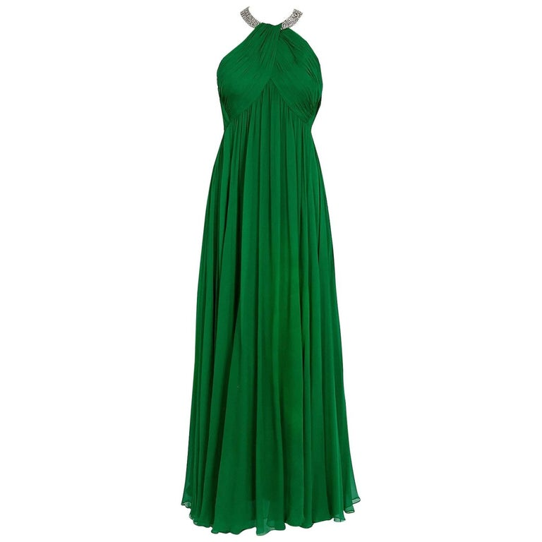 1960's Malcolm Starr Emerald-Green Draped Silk Chiffon Rhinestone Goddess Gown  For Sale