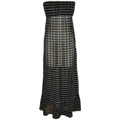 Ralph Lauren Midnight Blue & White Sheer Woven Strapless Maxi Dress