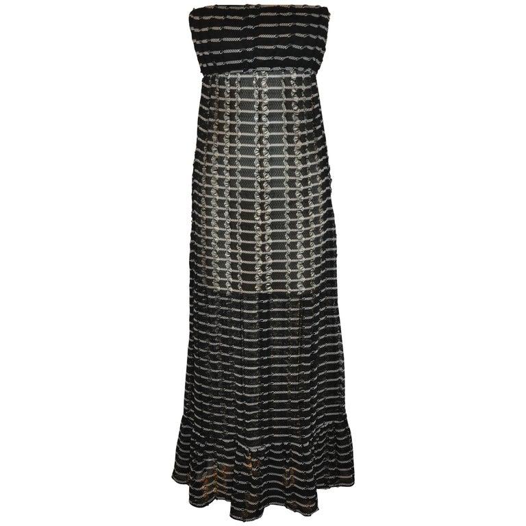 Ralph Lauren Midnight Blue & White Sheer Woven Strapless Maxi Dress