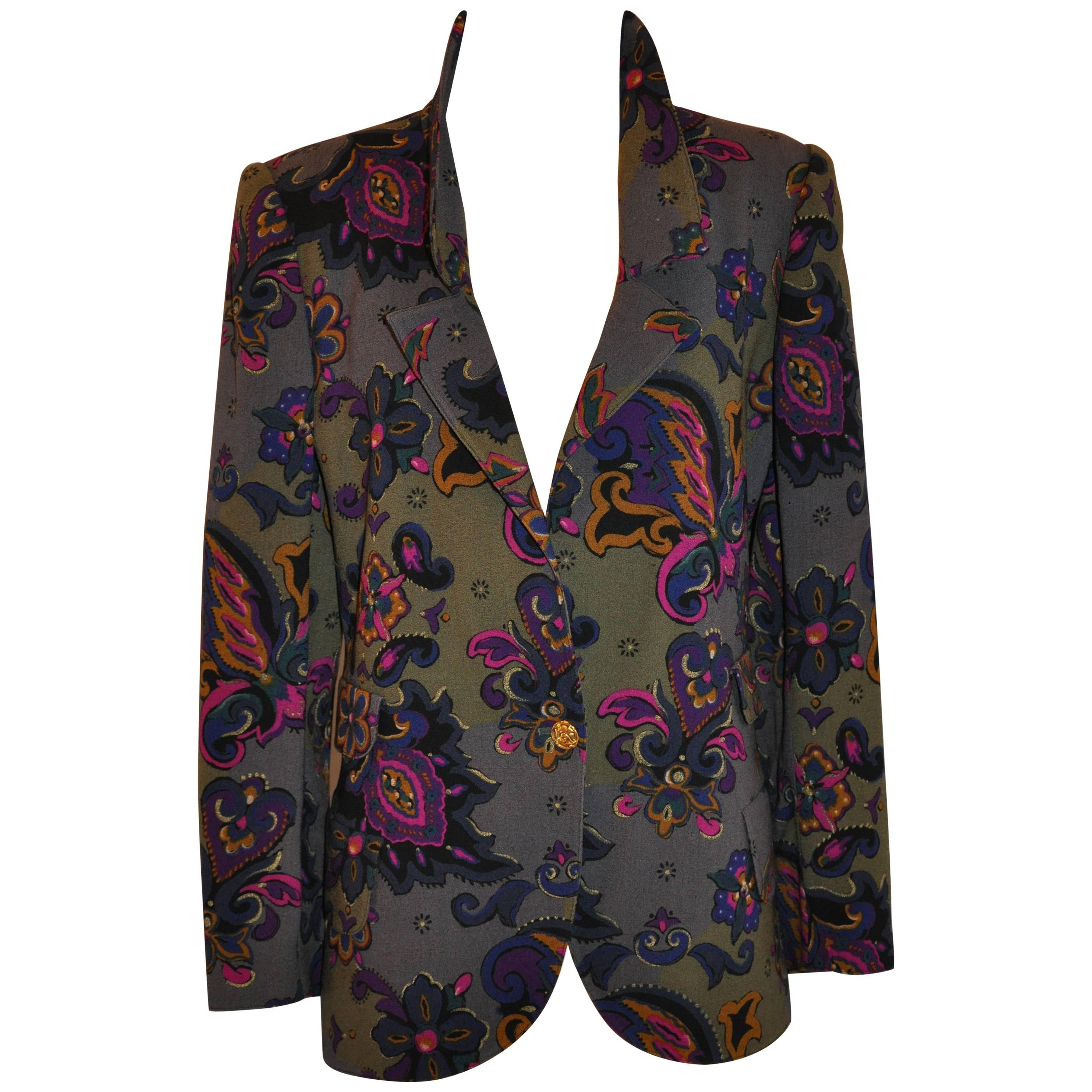 Emmanuel Ungaro Whimsical Multi-Color Palsey & Floral Wool Challis Jacket